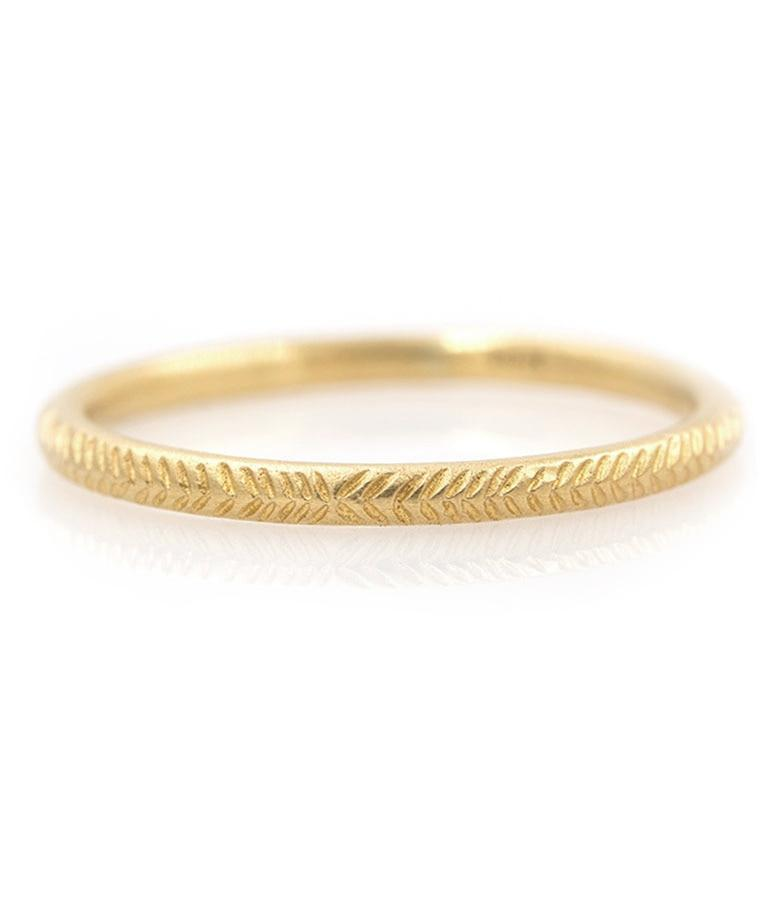 18k Feathered Gold Band - LoveAudryRose.com