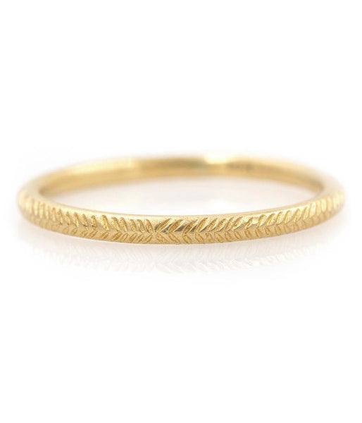 18k Feathered Gold Band