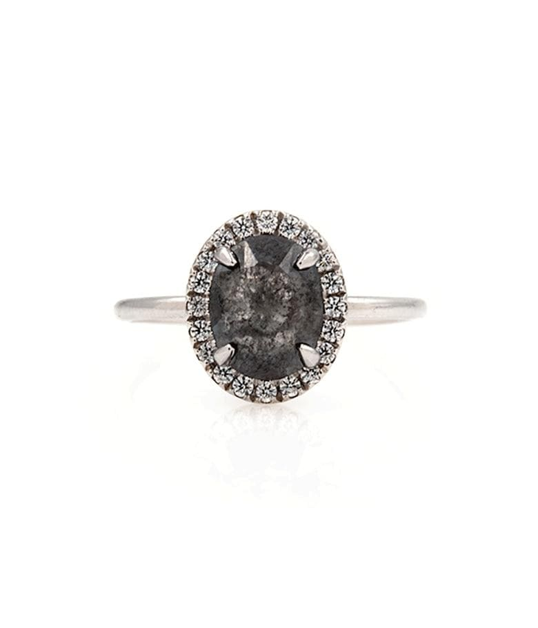 1.47 Carat Black Diamond Halo Ring