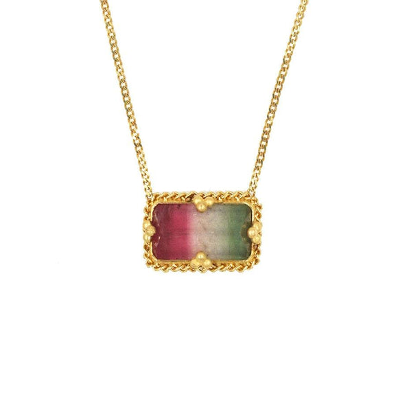 18k Triad Tourmaline Golden Cluster Necklace