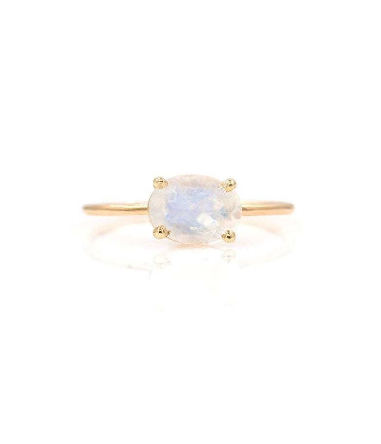 Floating Rainbow Moonstone Ring