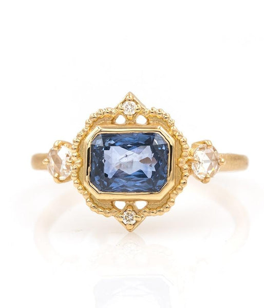 18k Blue Sapphire Picture Frame Ring - LoveAudryRose.com