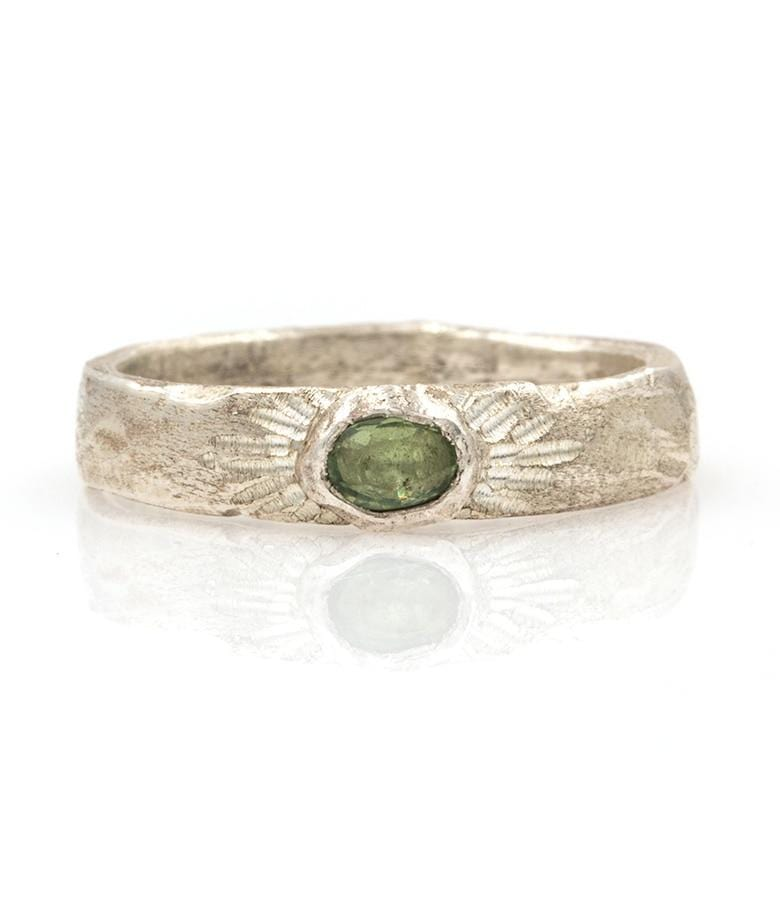 Radiant Green Sapphire Silver Band