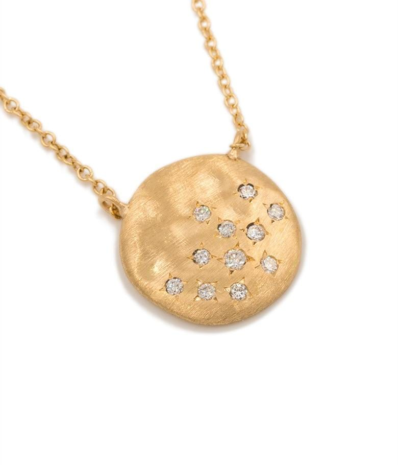 18k Diamond Cluster Disk Necklace