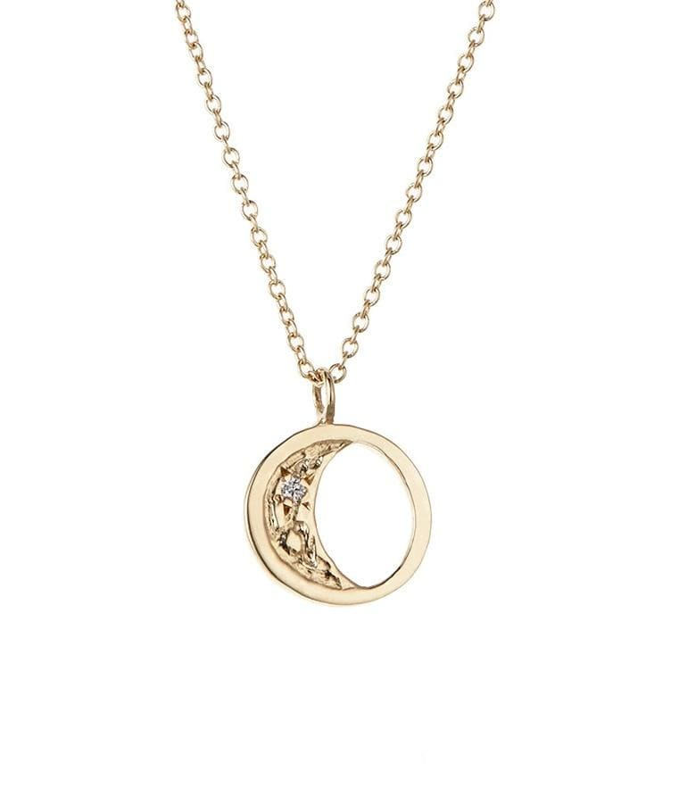 Golden Diamond Moon Necklace