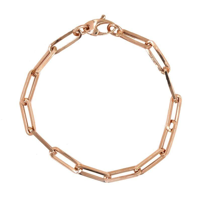 Rose Gold Elongated Link Chain Bracelet