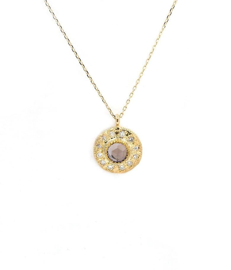 Iolite Diamond Halo Disk Necklace
