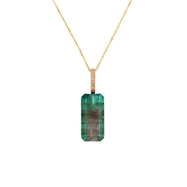 Bi-Color Tourmaline Diamond Bail Necklace
