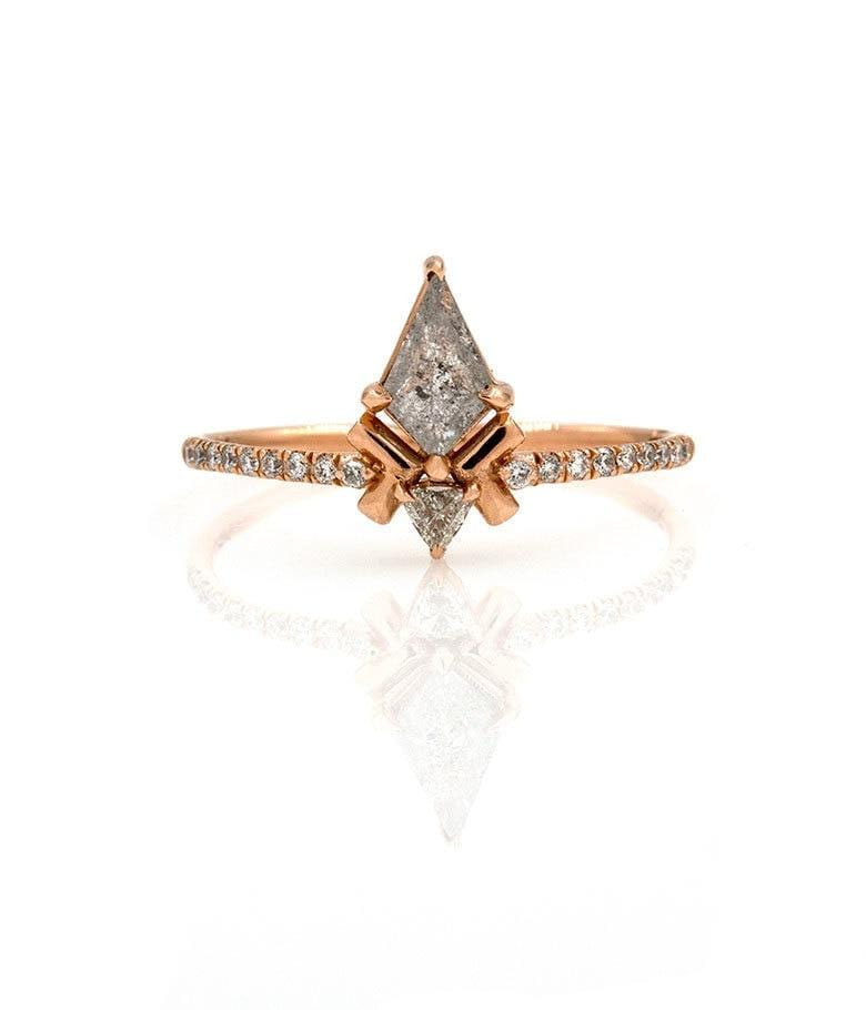 Salt & Pepper Kite Diamond Ring