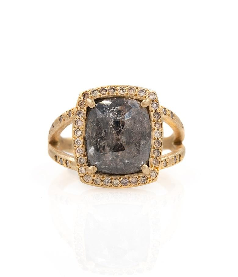 18k Black Diamond with Chocolate Diamond Halo