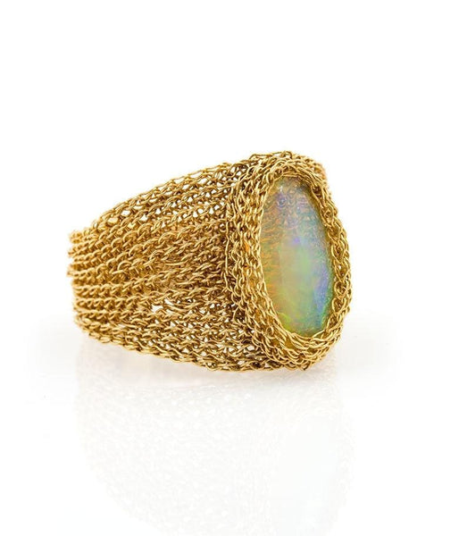 18k Elongated Lace Opal Ring