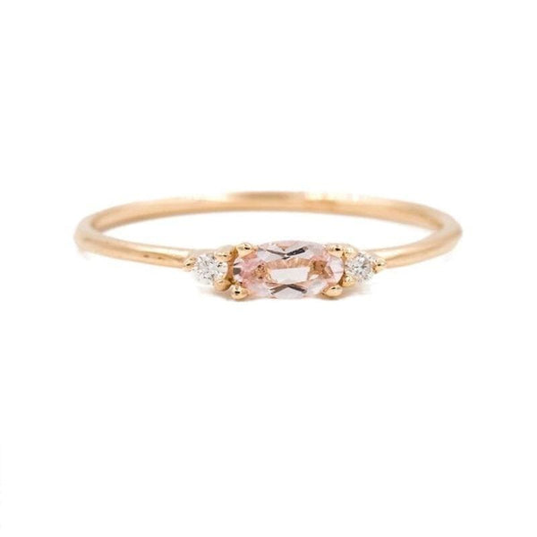 Morganite with Side Diamonds Ring - LoveAudryRose.com