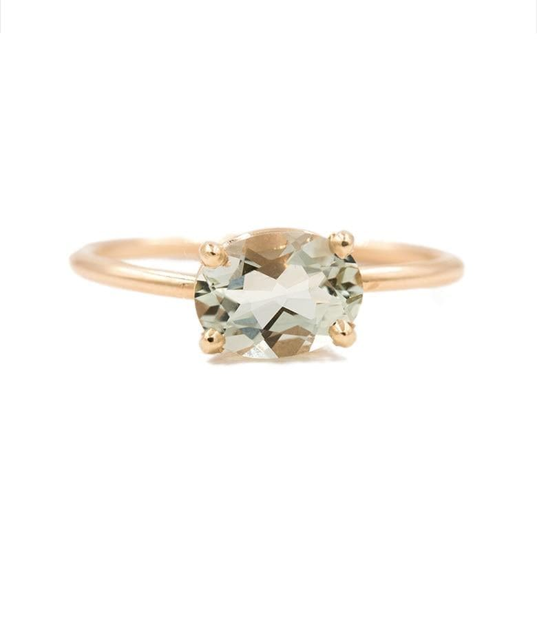 Floating Green Quartz Moss Ring