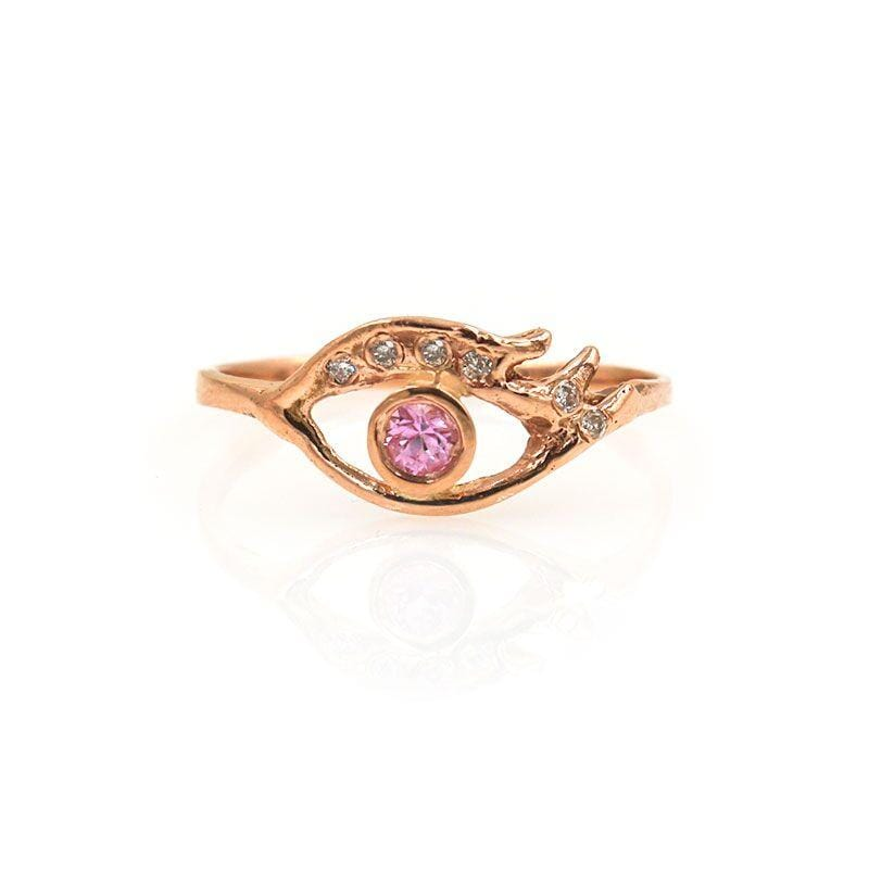 Pink Sapphire Eye Ring - LoveAudryRose.com