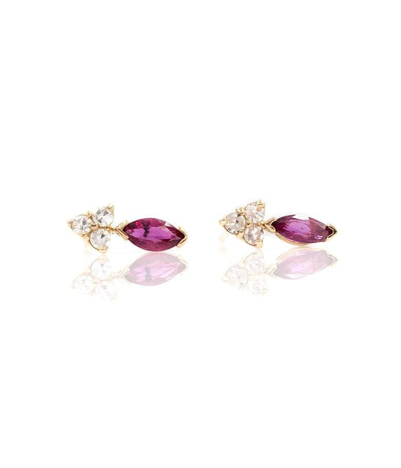 Marquise Ruby Cluster Studs