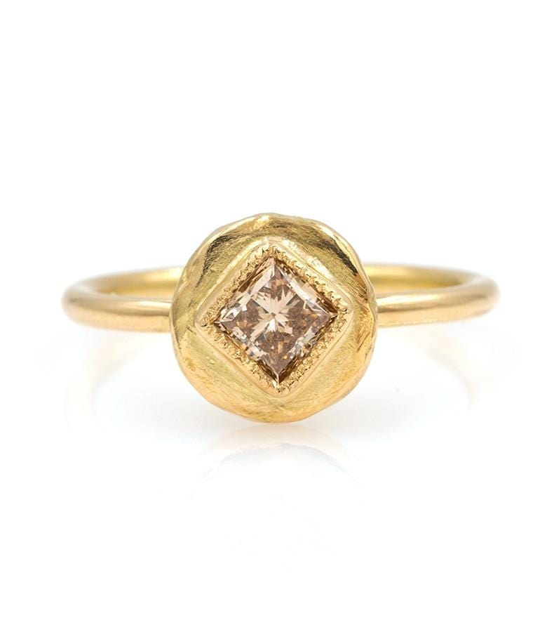 18k Princess Cut Champagne Diamond Ring - LoveAudryRose.com