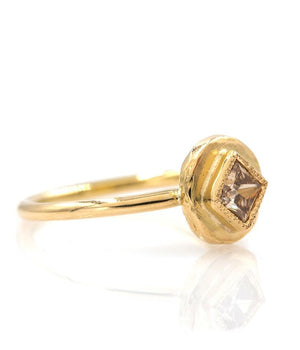 18k Princess Cut Champagne Diamond Ring