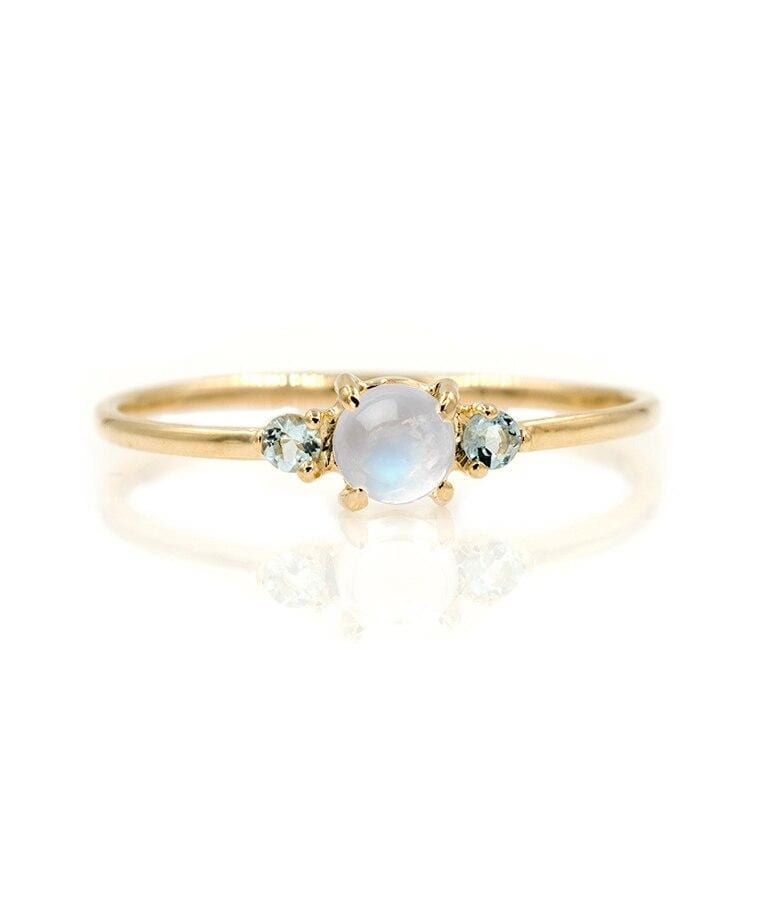 Moonstone Aquamarine Trio Ring - LoveAudryRose.com