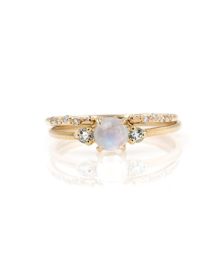 Moonstone Diamond Cuff Stack