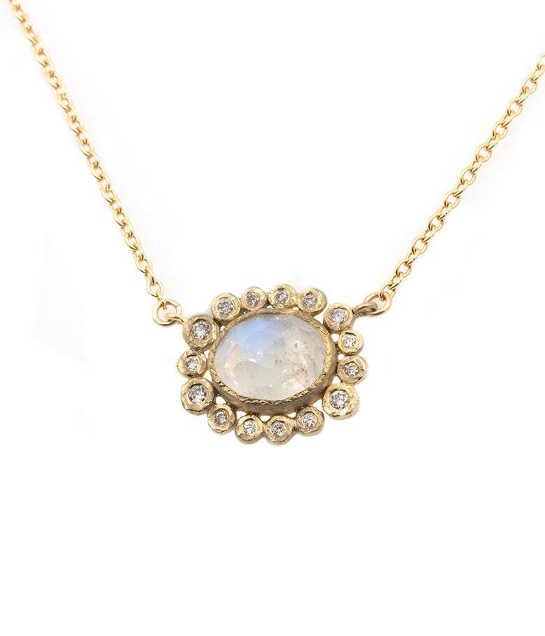 18k Moonstone with Bezel Diamond Halo Pendant