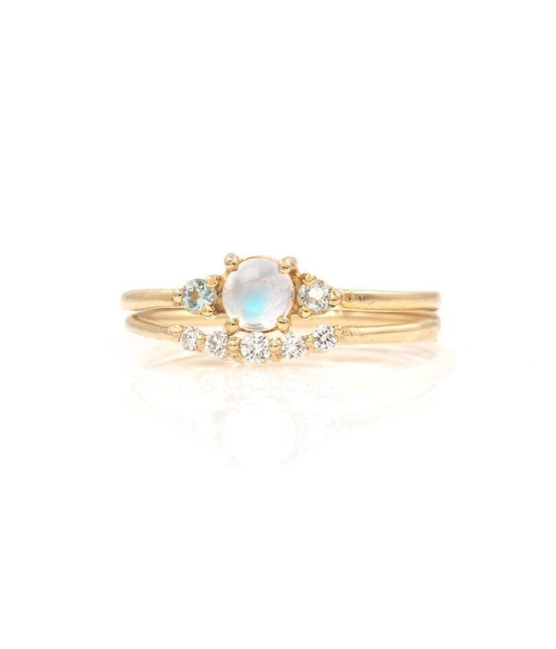 Classic Moonstone Diamond Stack