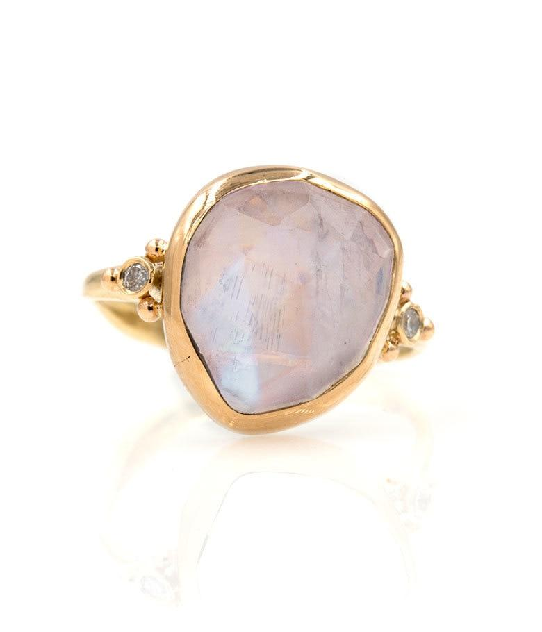 Large Faceted Moonstone with Side Diamonds