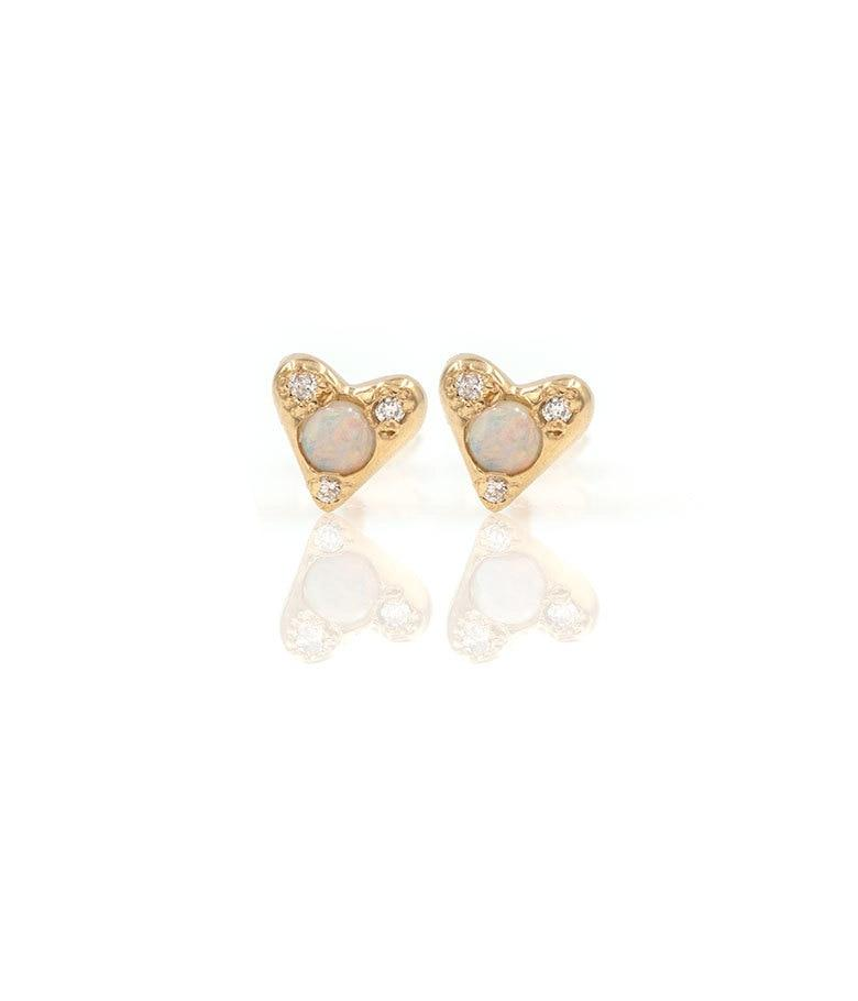 Opal Diamond Heart Studs