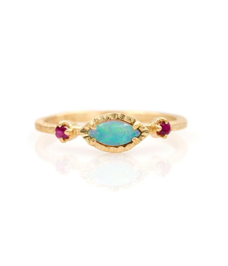 18k Opal Ruby Trio Ring - LoveAudryRose.com