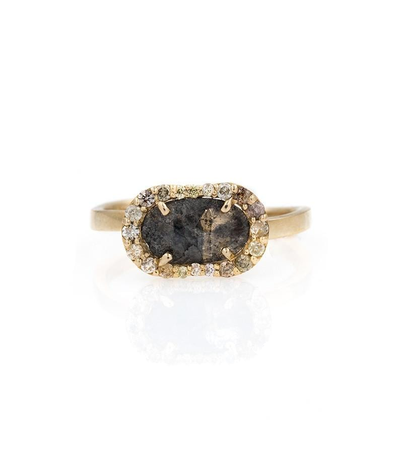 Oval Charcoal Diamond  with Champagne Diamond Halo