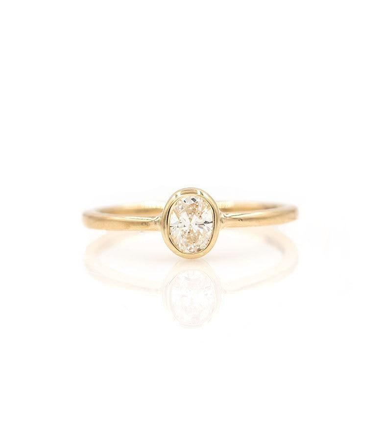 Oval Solitaire Diamond Ring