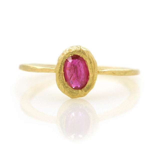 18k Oval Ruby Ring - LoveAudryRose.com