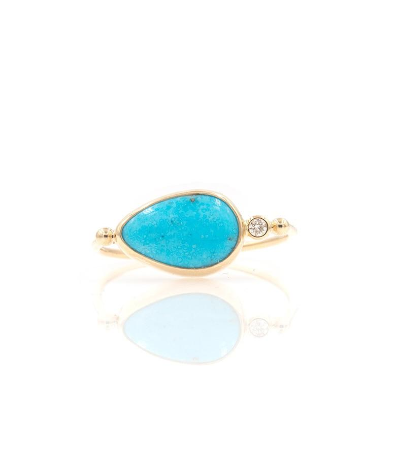 Sideways Turquoise Ring with Side Diamond