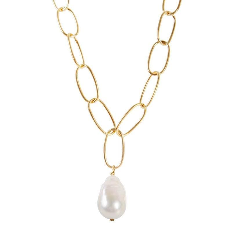Baroque Pearl Chain Necklace - LoveAudryRose.com