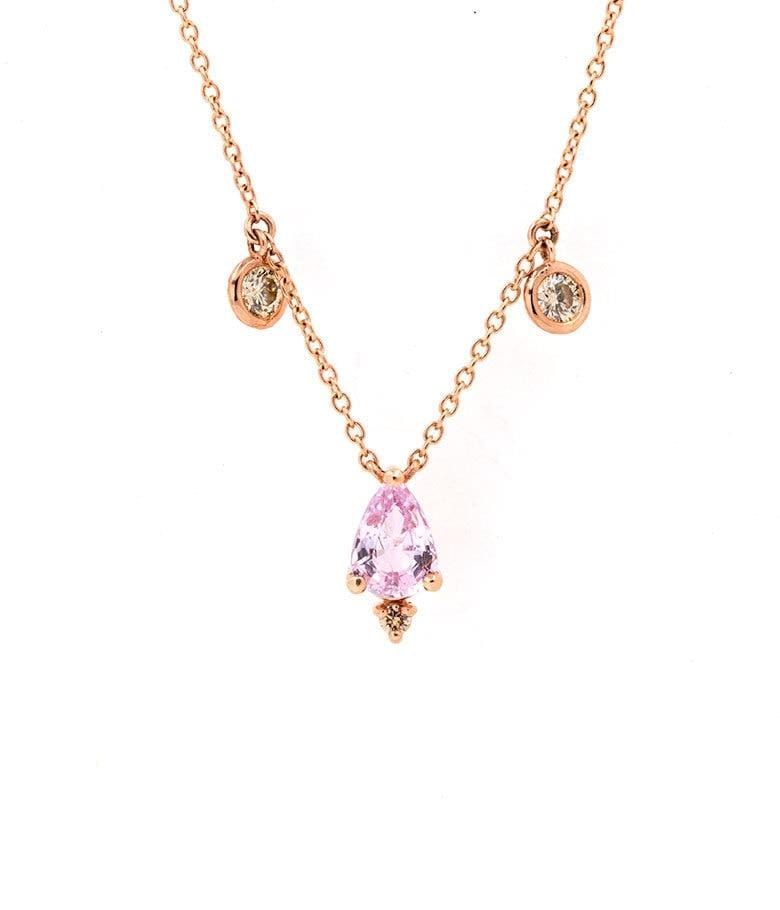 Pink Sapphire and Champagne Diamond Charm Necklace