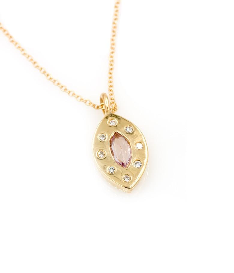 Pink Marquise Sapphire Halo Necklace