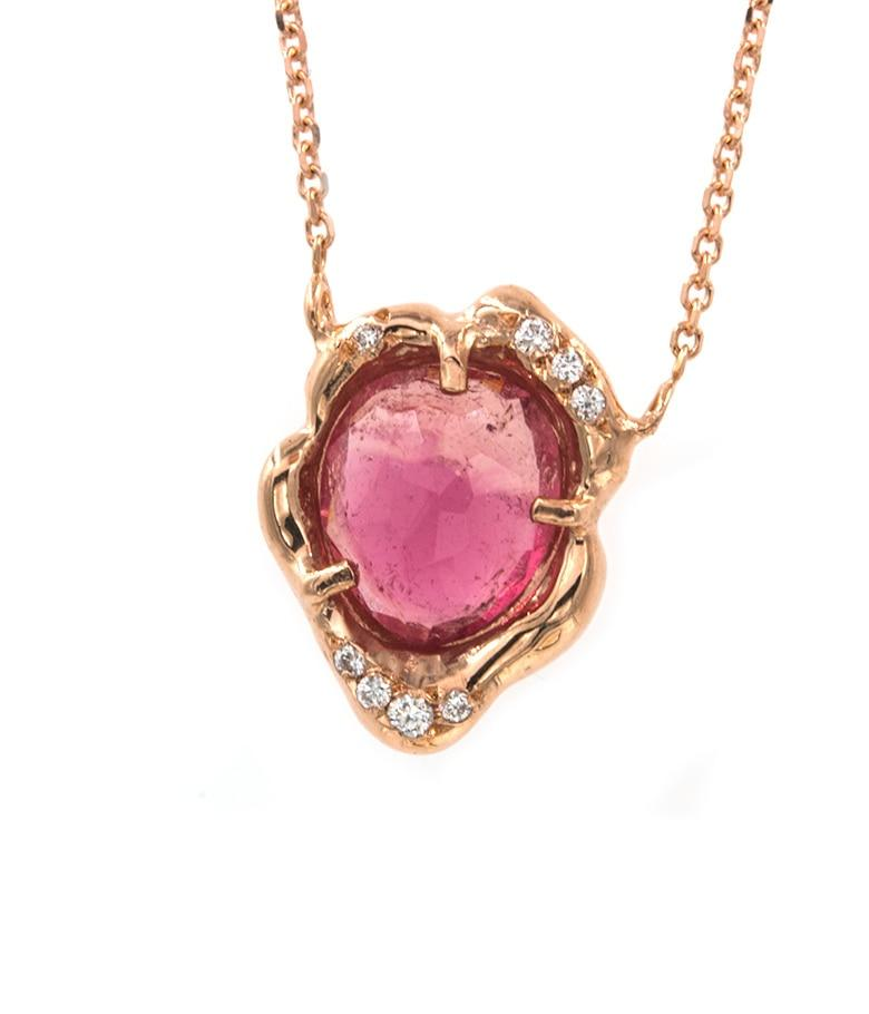 Hand-formed Tourmaline Diamond Necklace