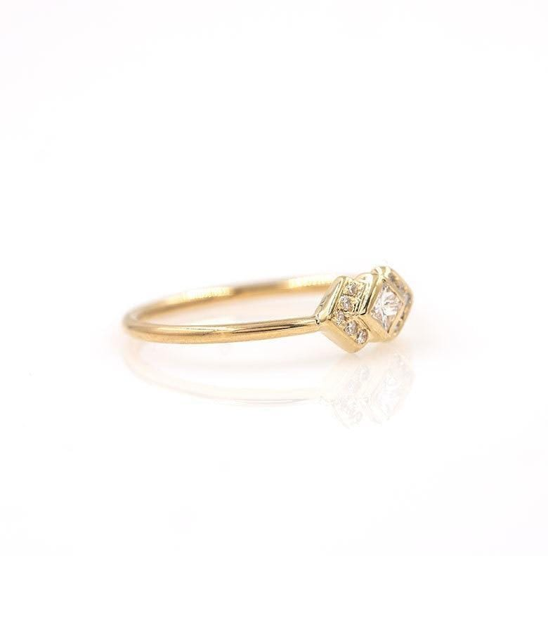 Diamond Double Chevron Ring