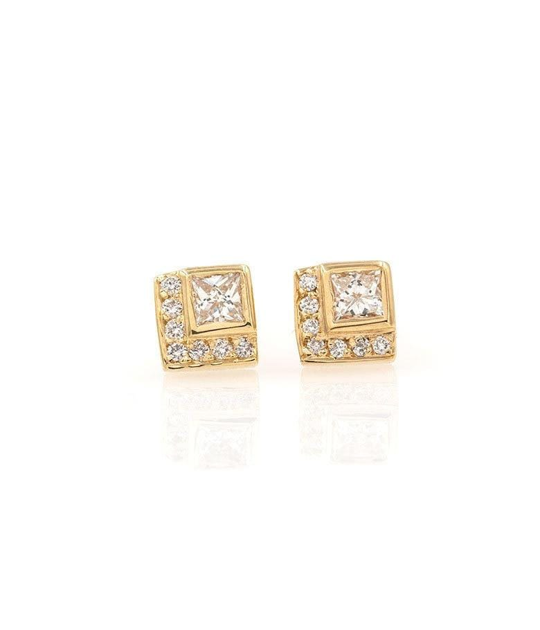 Diamond Chevron Studs