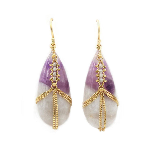 18k Amethyst Chain Earrings