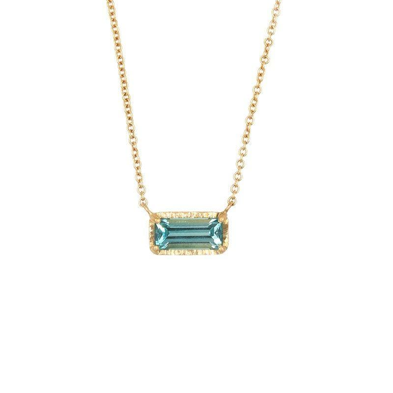 18k Blue Green Tourmaline Necklace