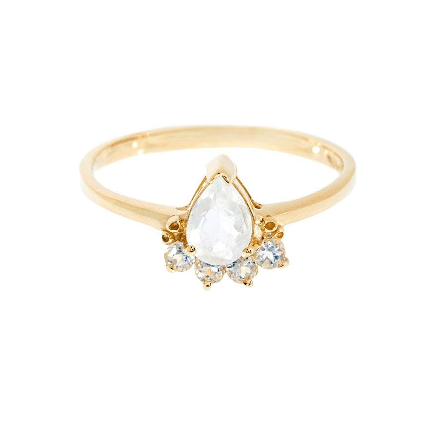Teardrop Moonstone Crown Ring