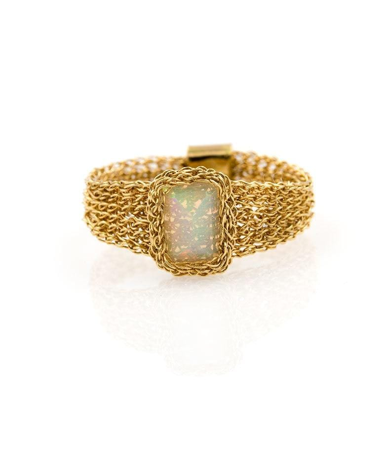 18k Rectangular Opal Lace Ring