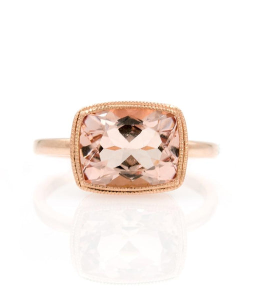 Morganite Milgrain Bezel Ring - LoveAudryRose.com
