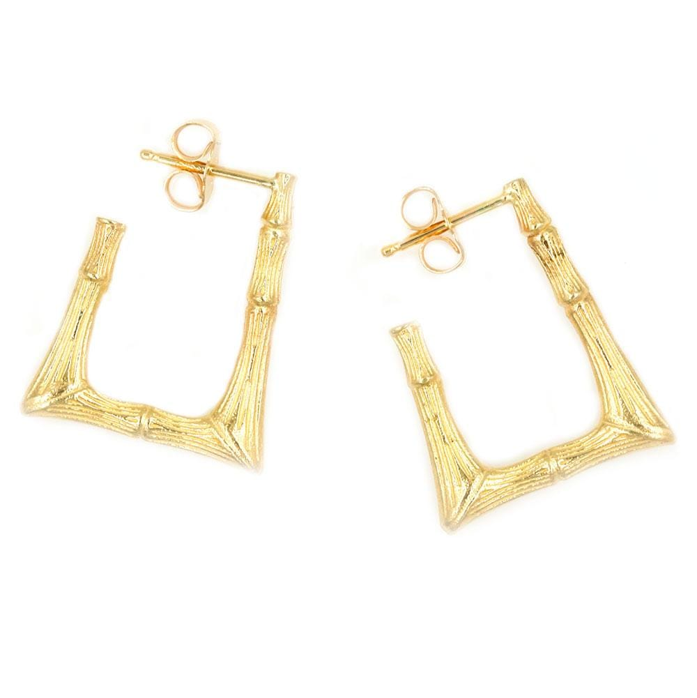 Rectangular Bamboo Hoop Earrings