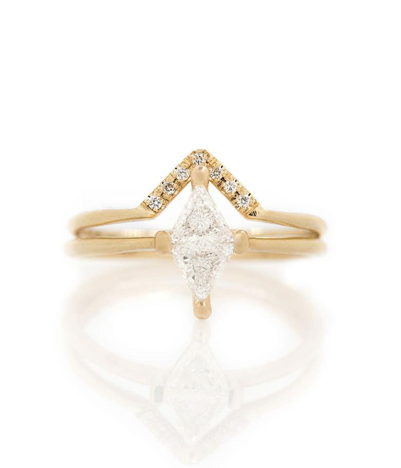 Diamond Rhombus Ring Set