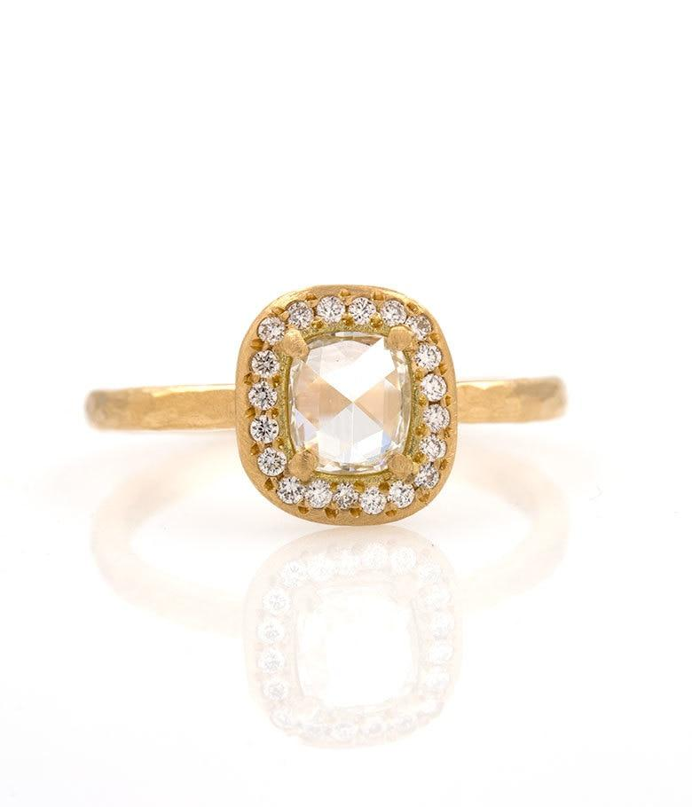 18k Rose Cut Diamond and Diamond Halo Ring
