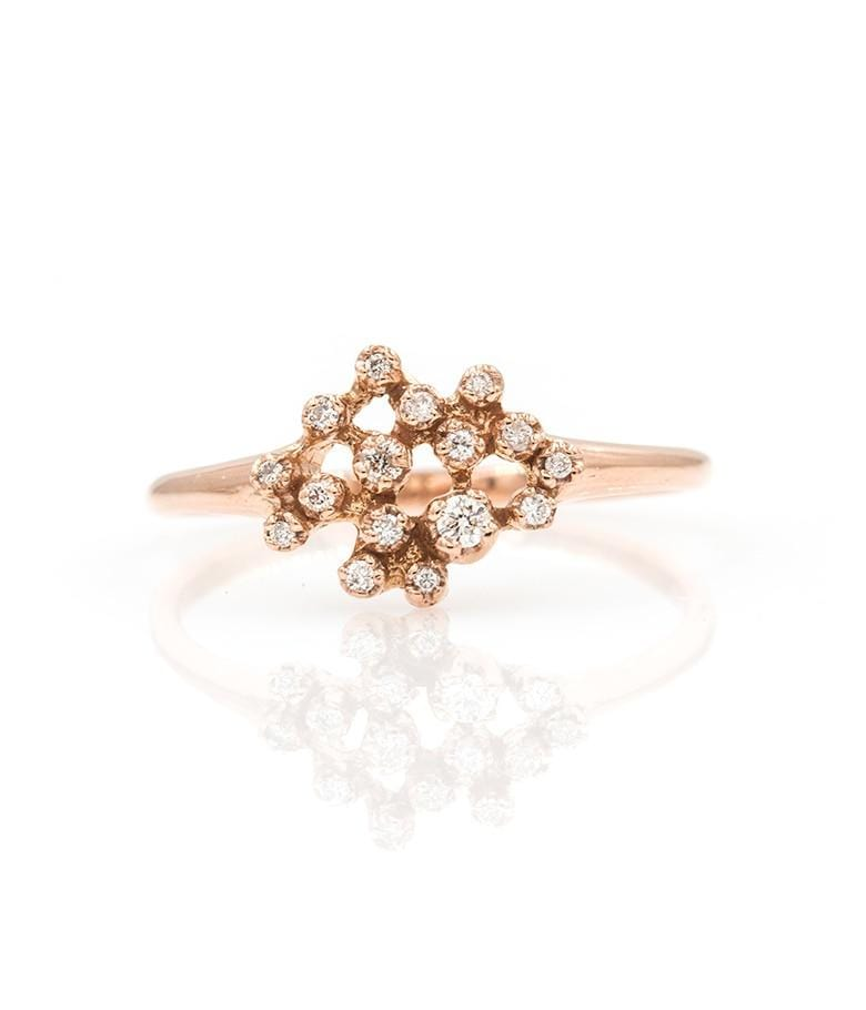 Rose Gold Glittering Diamond Ring