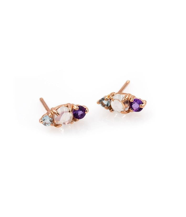 Moonstone Aquamarine and Amethyst Studs - LoveAudryRose.com