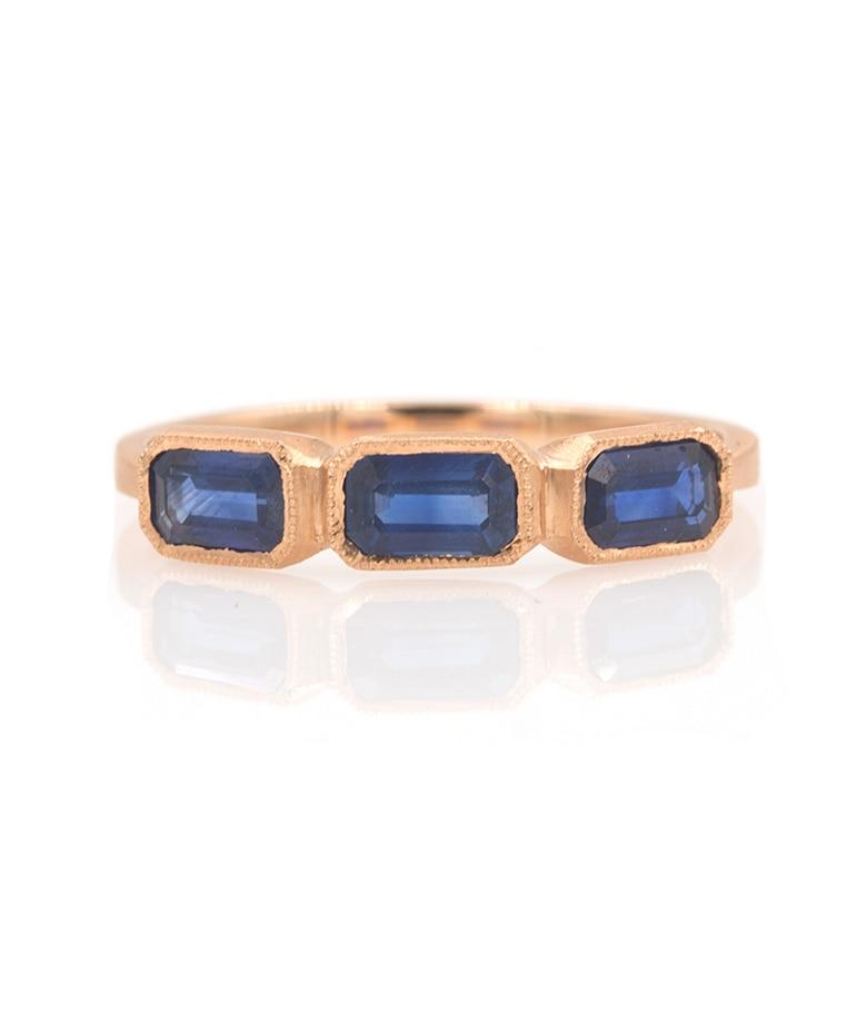 Rose Gold Sapphire Blockette Ring