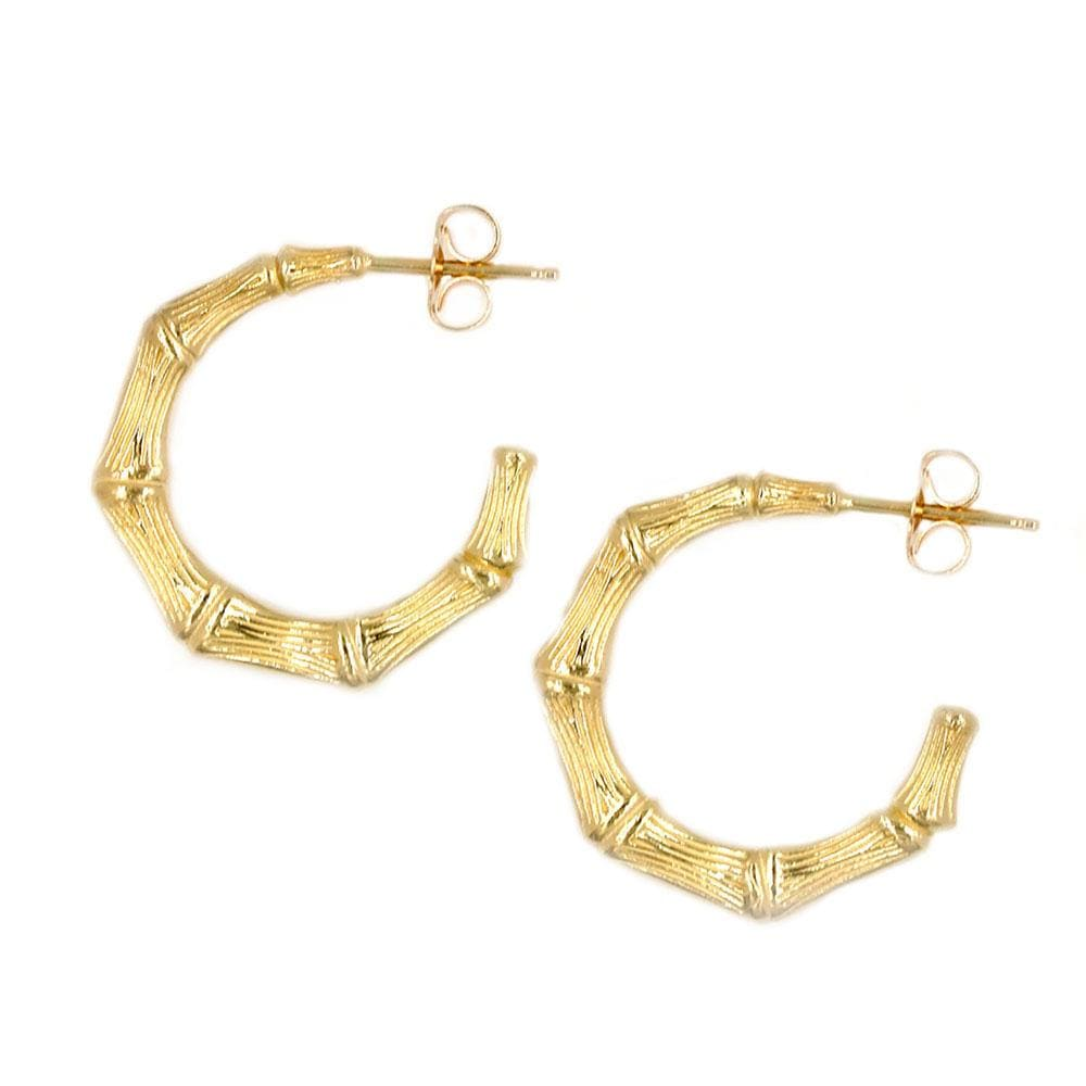 Round Bamboo Hoop Earrings